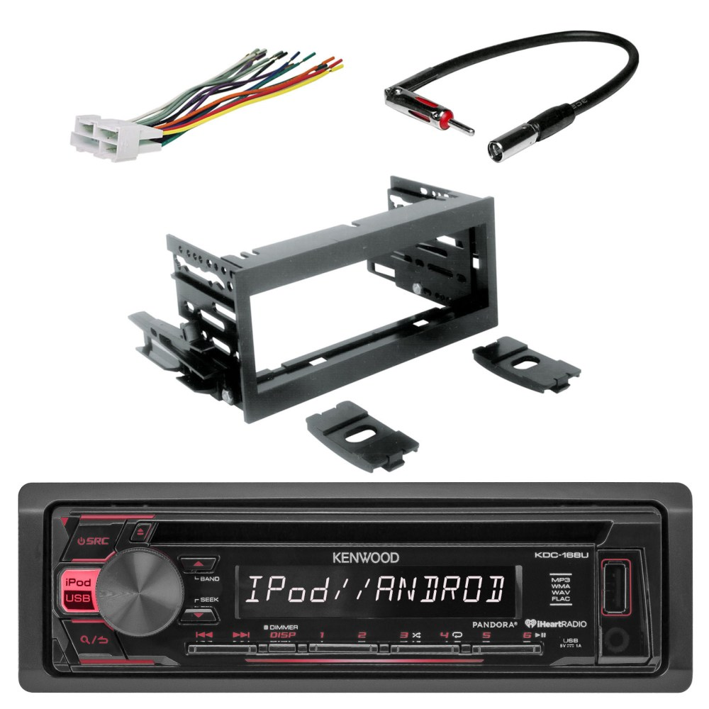 medium resolution of kenwood in dash single din cd player aux car stereo receiver with scosche dash kit scosche gm micro delco antenna adapter and scosche radio wiring harness