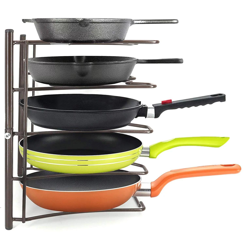 heavy duty kitchen cabinet cookware organizer rack for pans pots lids and cast iron bronze walmart com