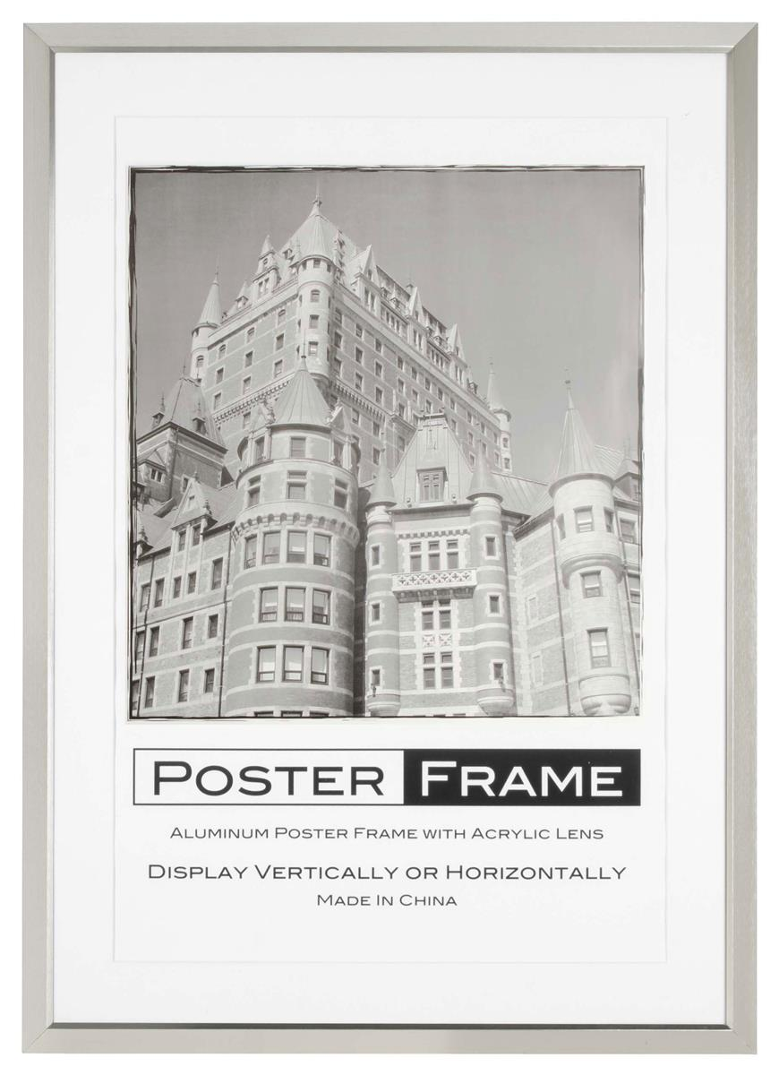 matted poster frame for 24 x 36 graphics includes 2 colored mat boards for wall mount aluminum silver pfdl2436sv