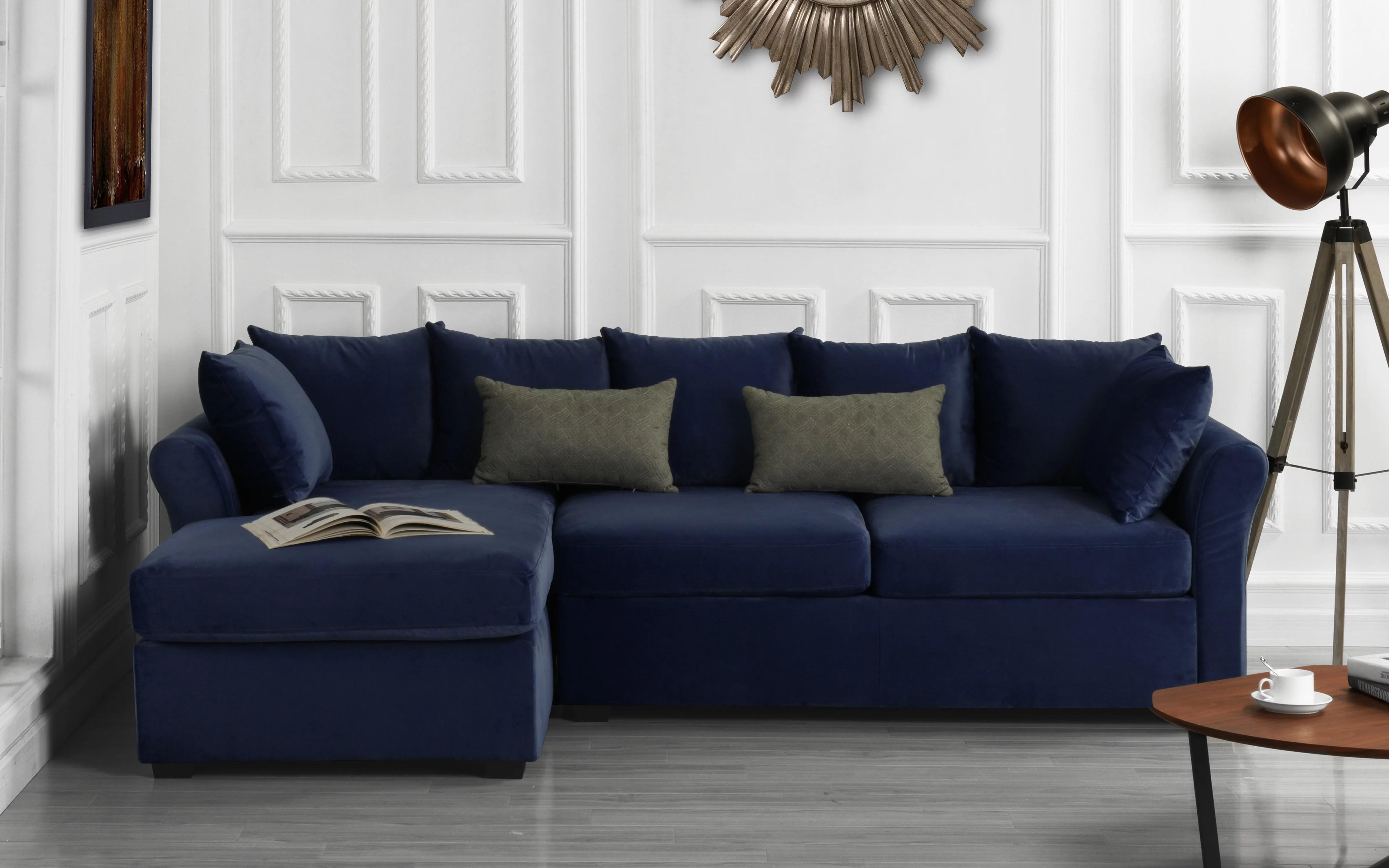 modern home large microfiber velvet sectional sofa navy