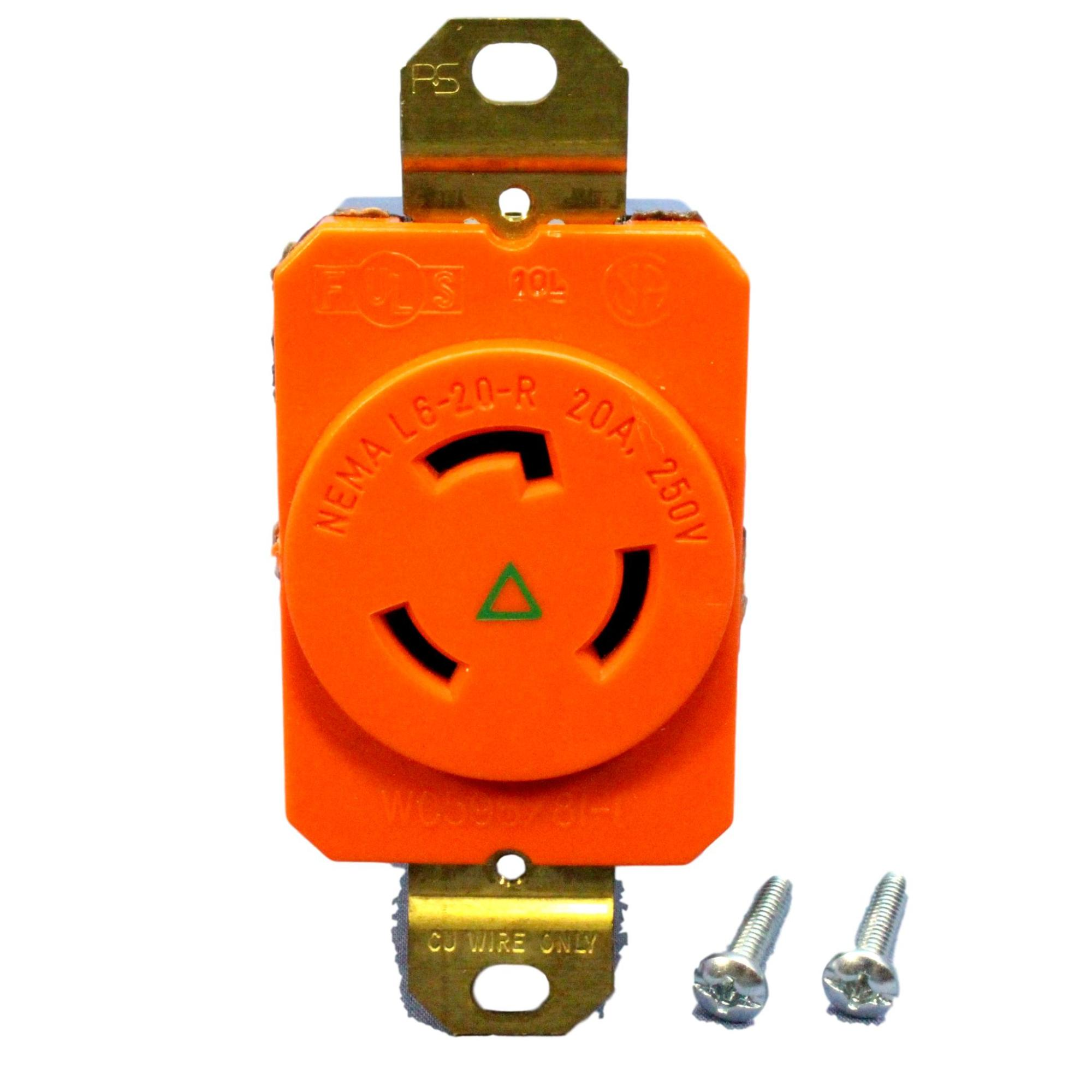 hight resolution of pass seymour isolated ground locking receptacle nema l6 20r 20a 250v igl620 r walmart com