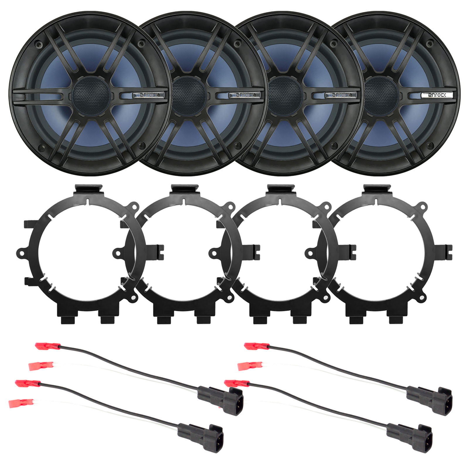 hight resolution of 4x enrock 6 5 2 way marine coaxial car boat audio stereo speakers with 4x enrock speaker mounting brackets 4x speaker wire harness walmart com