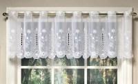 Samantha embroidered sheer white kitchen curtain valance ...