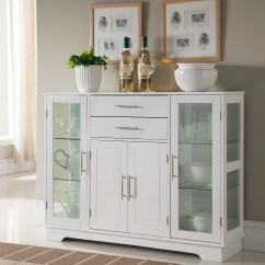 White Kitchen Buffet Toy Hauler With Outdoor Elias Wood Contemporary Display China Cabinet Storage Drawers Glass Doors Walmart Com