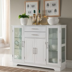 Kitchen Buffet Furniture Appliance Elias White Wood Contemporary Display China Cabinet With Storage Drawers Glass Doors Walmart Com