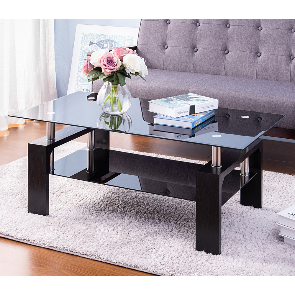 black glass coffee table with 2 tier tempered glass boards modern side center coffee table with lower shelf wooden legs sturdy rectangle sofa side