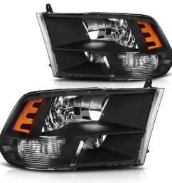 headlight assembly for 2009 2018 dodge ram 1500 2500 3500 pickup headlamp replacement black housing amber reflector 2009 2010 2011 2012 2013 2014 2015 2016  [ 1100 x 1100 Pixel ]