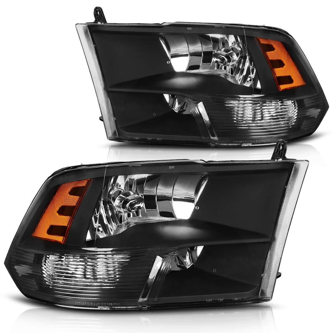 hight resolution of headlight assembly for 2009 2018 dodge ram 1500 2500 3500 pickup headlamp replacement black housing amber reflector 2009 2010 2011 2012 2013 2014 2015 2016