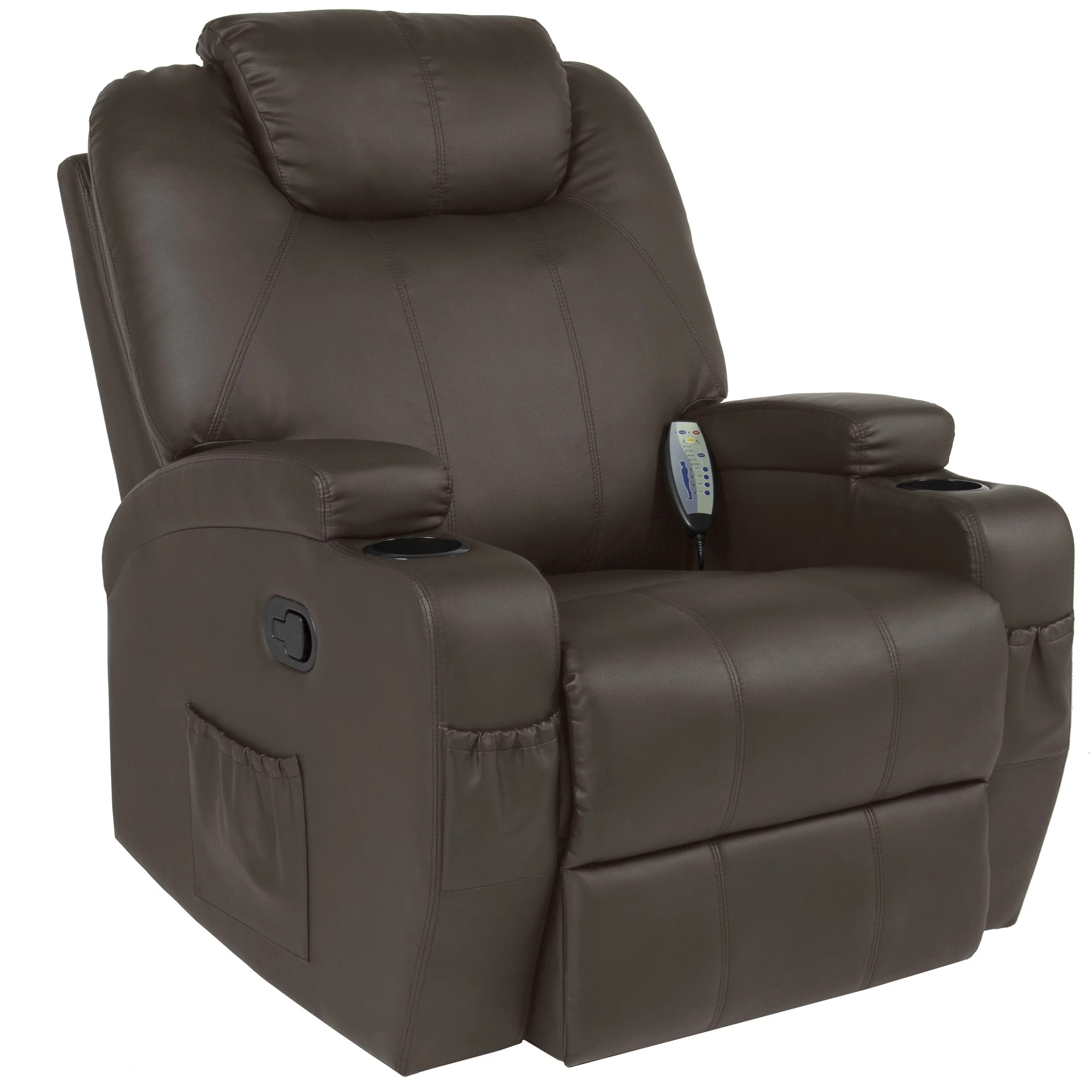 heated chair cover for recliner feet replacements best choice products executive pu leather swivel electric massage w remote control 5 heat vibration modes 2 cup holders