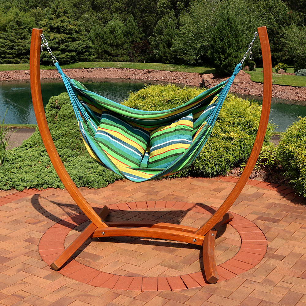 hammock chair swings genuine leather office sunnydaze hanging swing with sturdy space saving wooden stand for indoor or outdoor use ocean breeze walmart com
