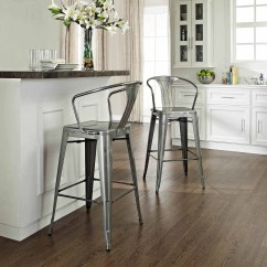 Bar Chairs With Arms And Backs Chair Covers To Hire Nottingham Crosley Amelia Metal Cafe Stool Back Galvanized Set Of 2 Walmart Com