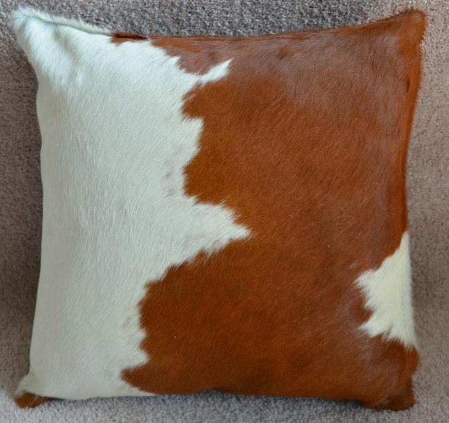 pergamino brown and white ss cowhide pillow cover 15 x15
