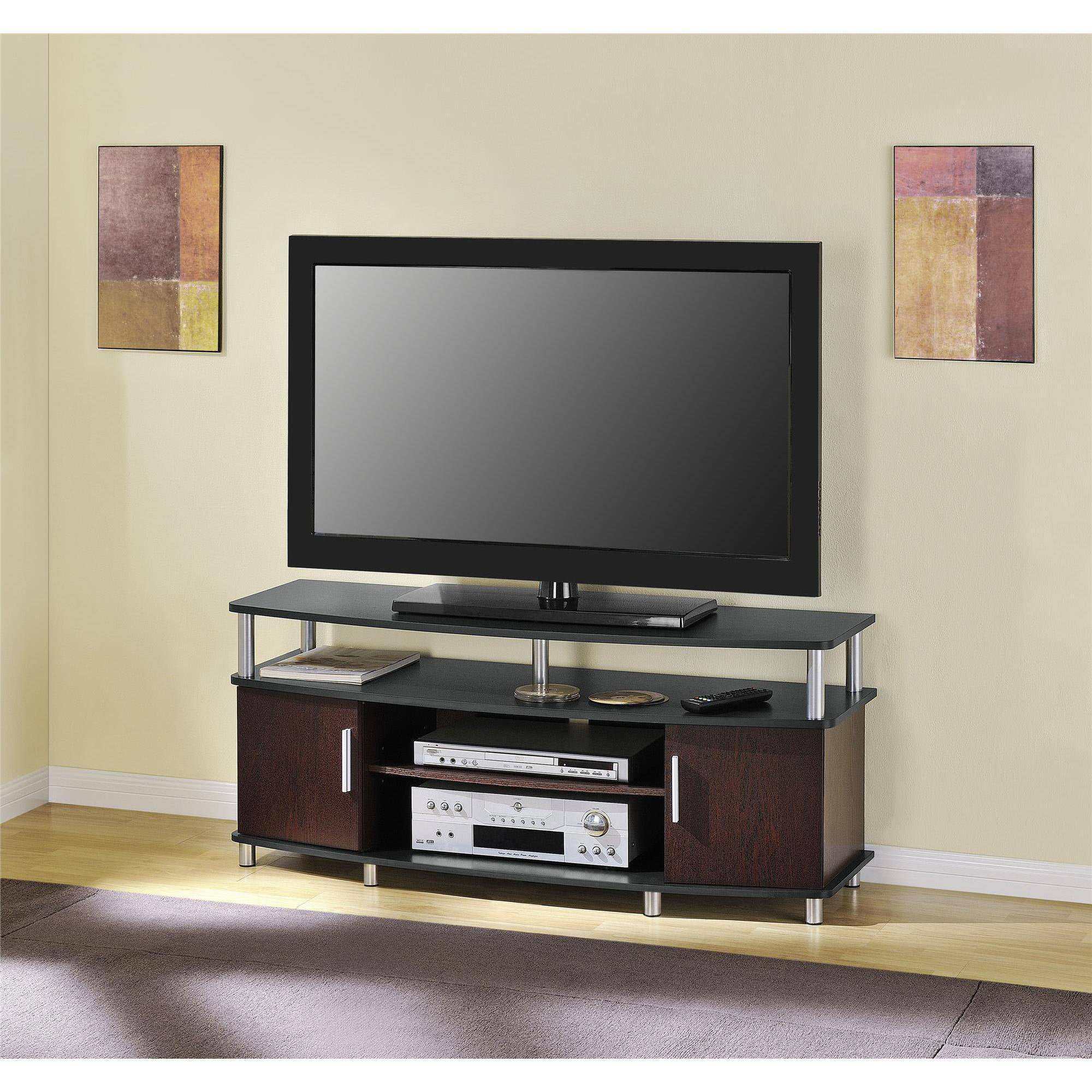 living room tv stand modern showcase designs carson for tvs up to 50 multiple finishes walmart com