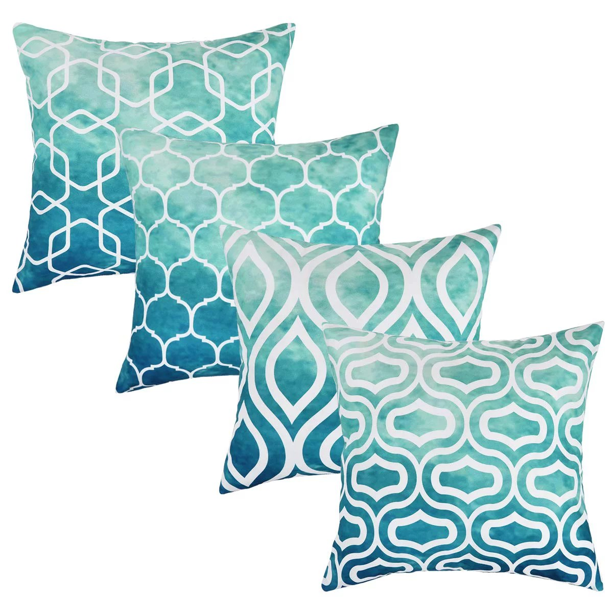 set of 4 pillow covers 18 x 18 teal decorative cushion cover for couch square design throw pillow case for sofa home office by tayyakoushi