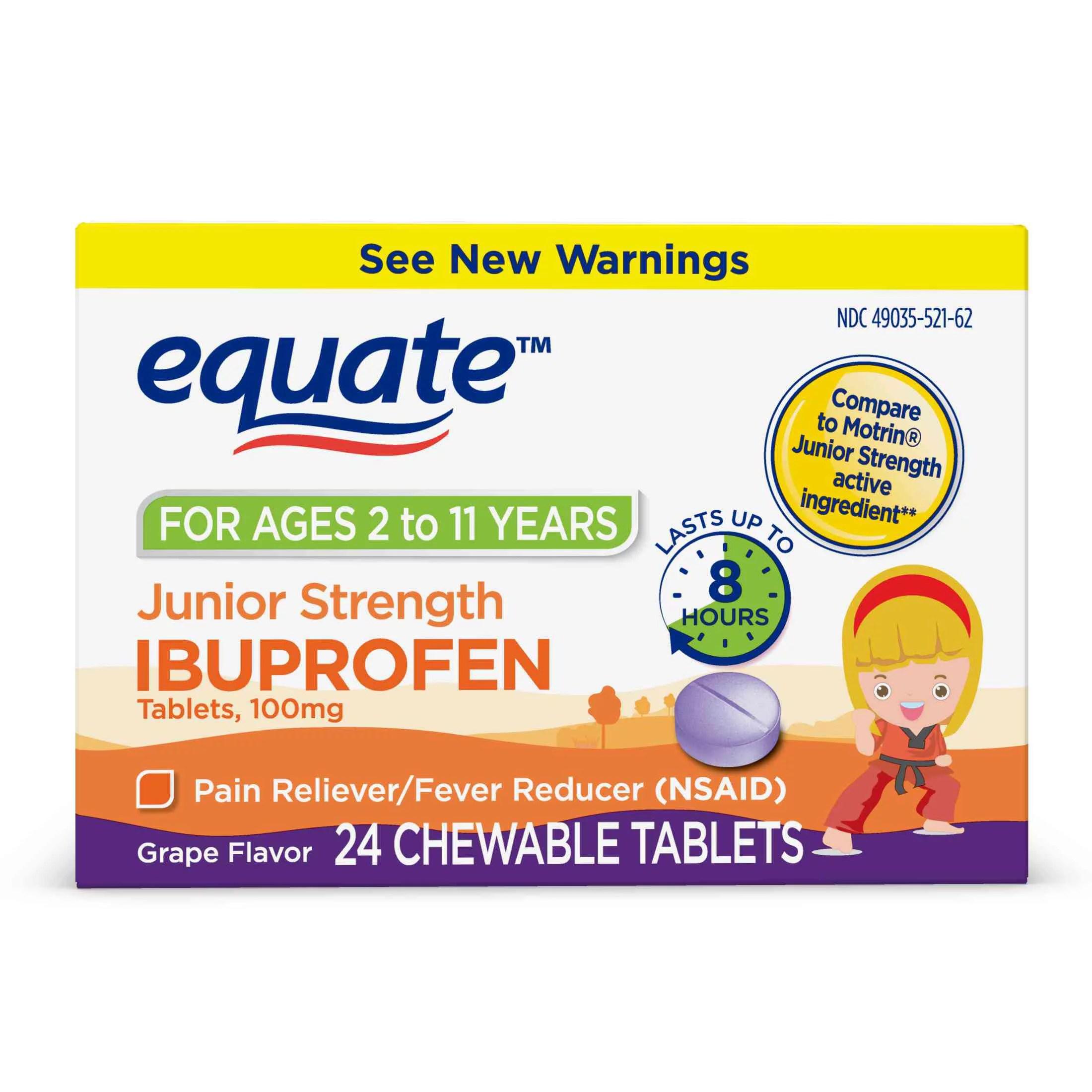 Equate junior strength ibuprofen chewable grape tablets mg ct also rh walmart