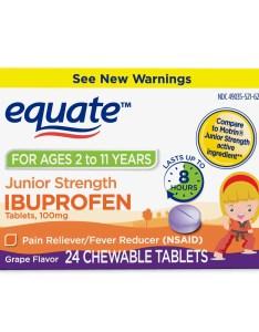 Equate junior strength ibuprofen chewable grape tablets mg ct walmart also rh