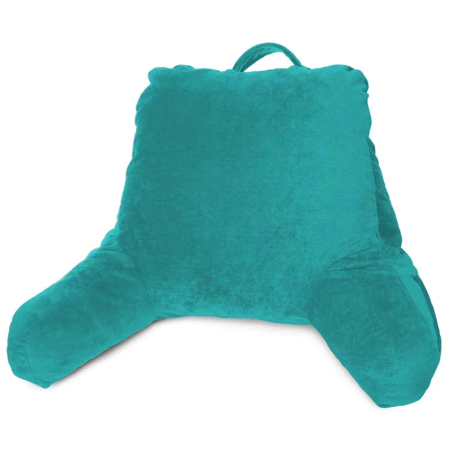 clara clark bed rest reading pillow with arms and pockets for kids teens adults premium shredded memory foam tv pillow medium teal