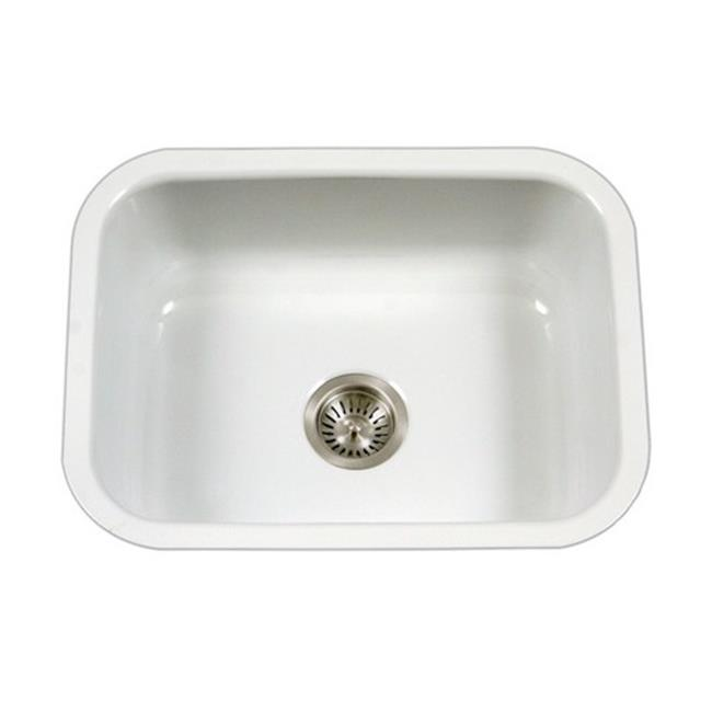 kitchen sink white antique grey cabinets houzer pcs 2500 wh porcela series porcelain enamel steel undermount single bowl