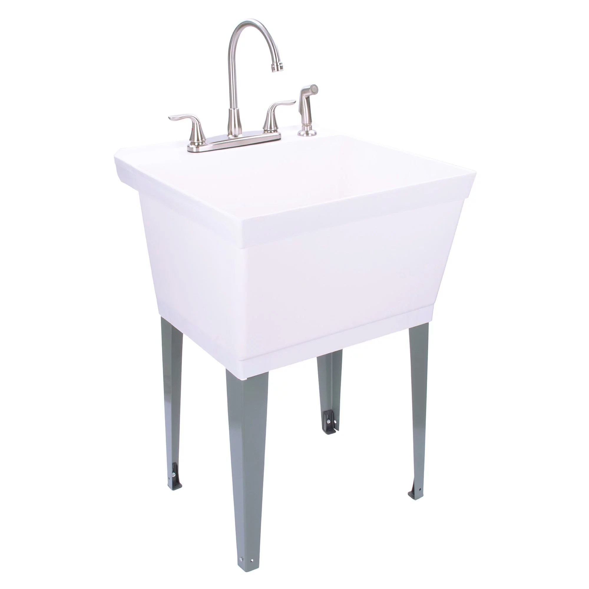 19 gallon utility sink with stainless steel high rise kitchen faucet 6501 walmart com
