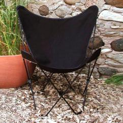 Butterfly Chair Covers Walmart Tufted Armless 35a Retro Style Outdoor Patio With Black Cotton Duck Fabric Cover
