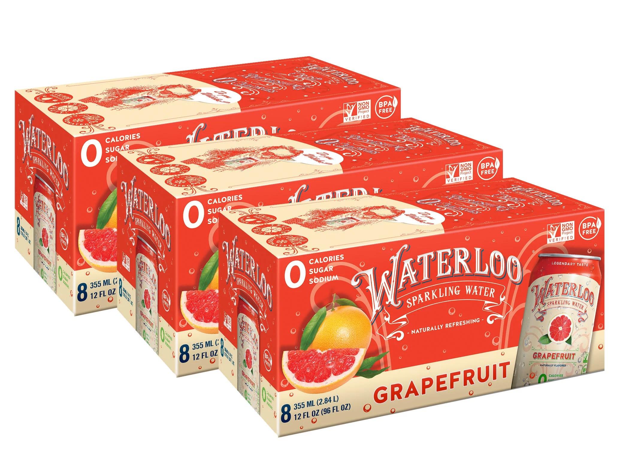 Waterloo Sparkling Water Grapefruit 12 Fl Oz 24 Ct