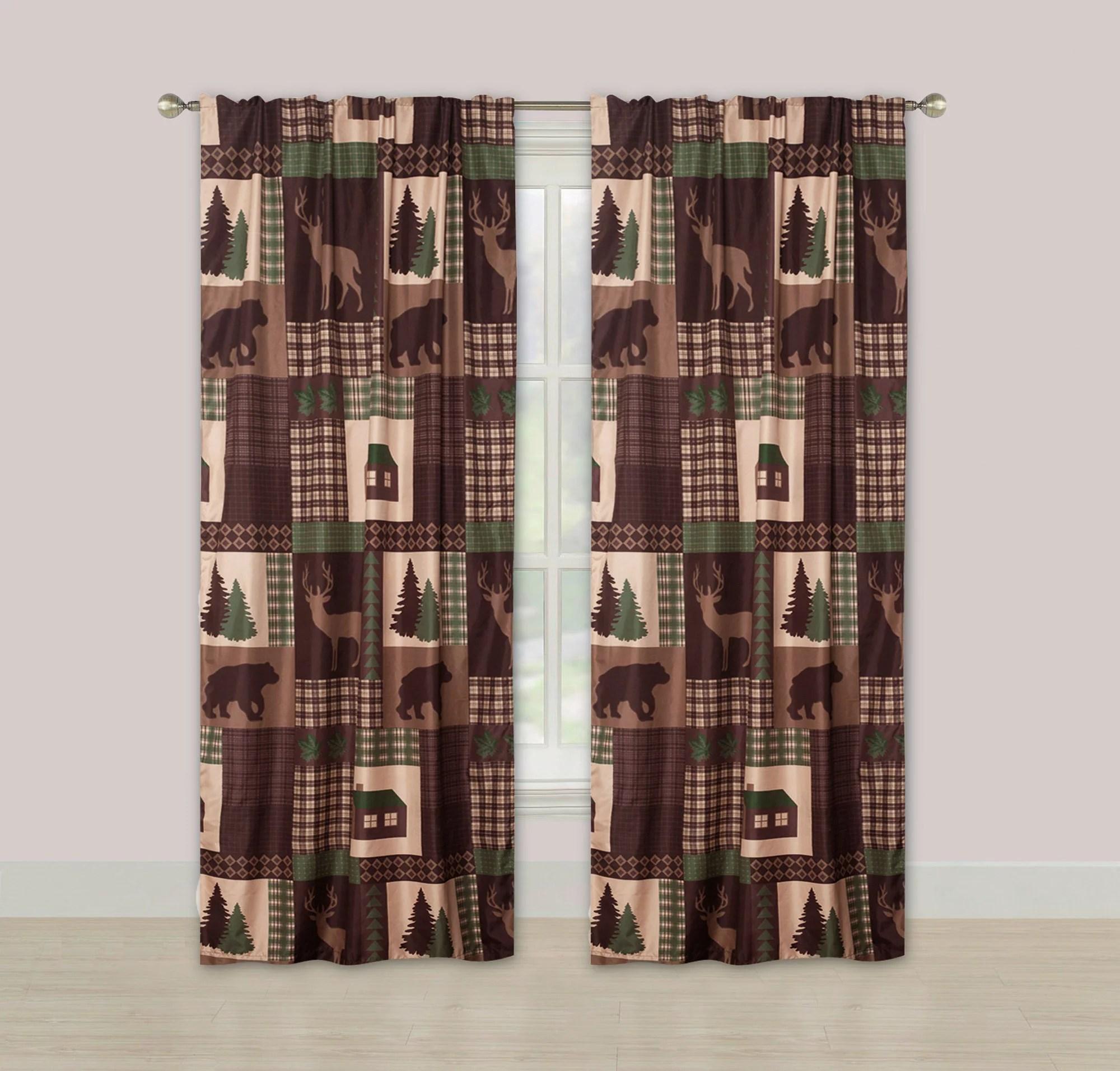 rustic cabin window curtains panel pair drapes lodge deer and bear 84