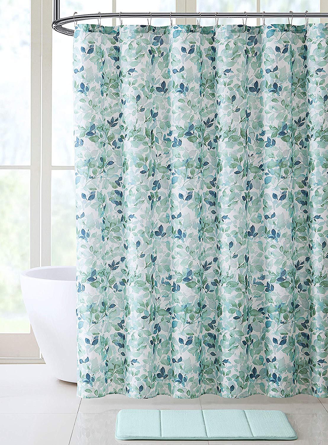 bathroom fabric shower curtain lush nature green blue teal white leaf pattern on faux linen universal bathroom shower curtain for men or women