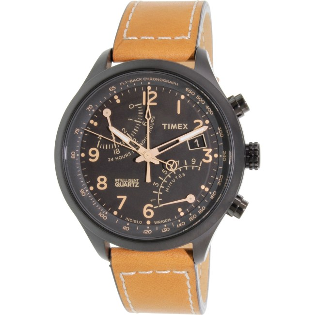 Timex Men's IQ T2N700 Brown Calf Skin Quartz Fashion Watch