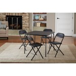 Details About Folding Dining Table Set Of 5 Table And 4 Chairs Black Card Game Party New