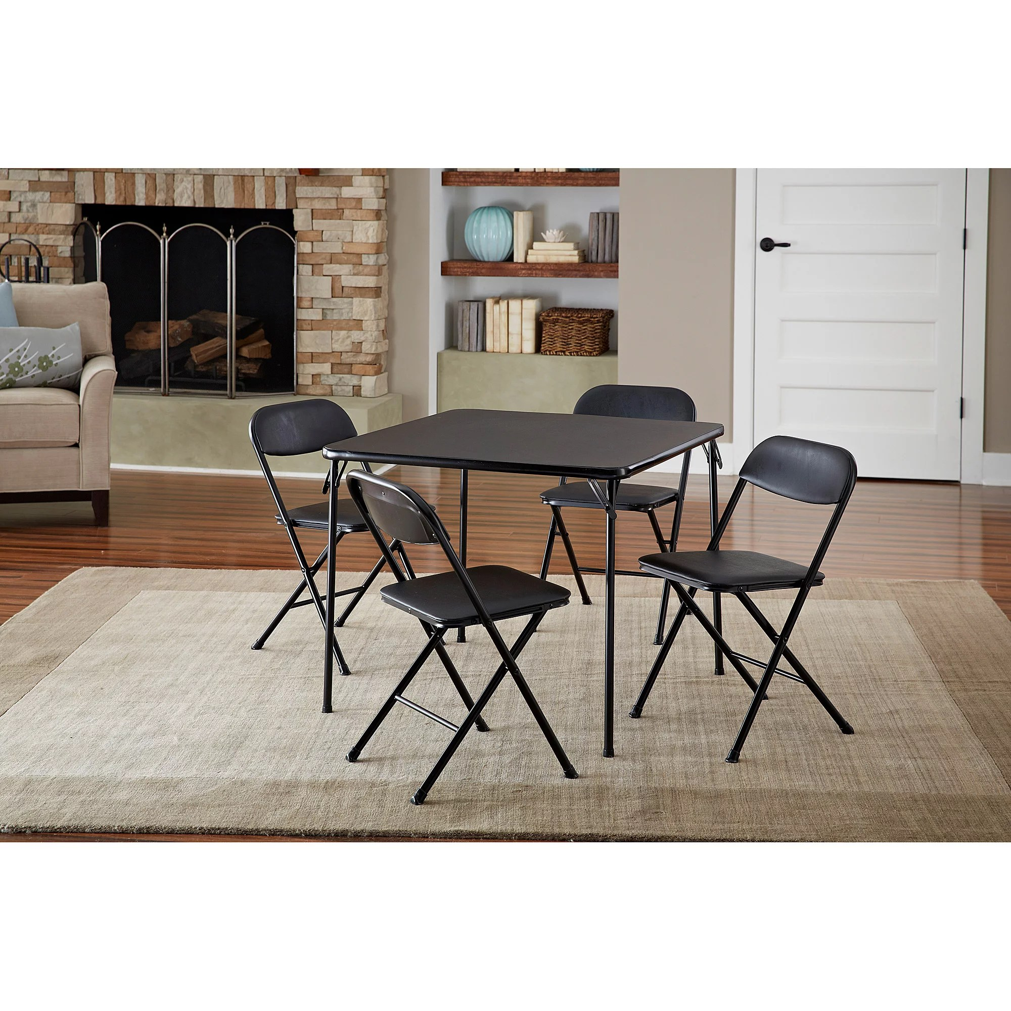 cosco card table and chairs dining room chair seat covers grey 5-piece set, black - walmart.com