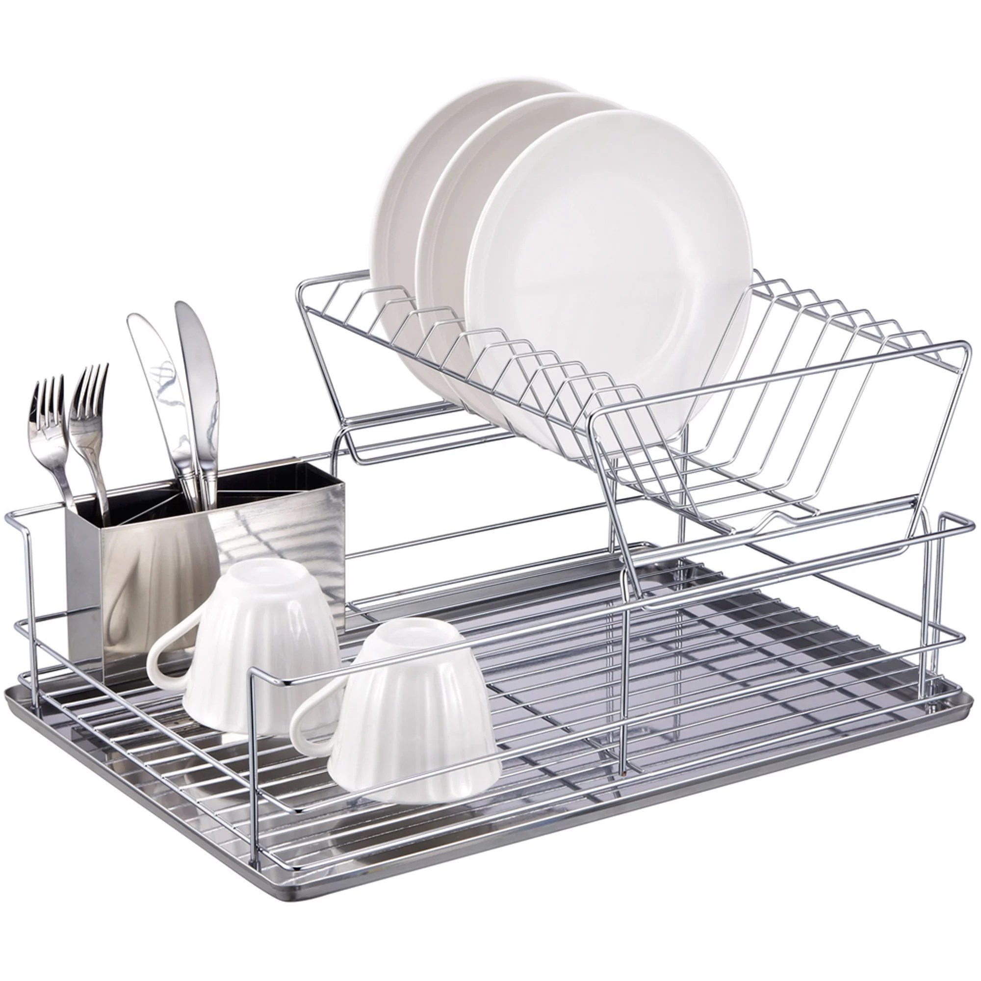 kitchen drying rack stainless steel sinks home basics 2 tier dish chrome walmart com