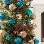 Holiday Time Shatterproof Christmas Tree Ornaments 50 Count Dark Teal Gold And Light Teal Walmart Com Walmart Com