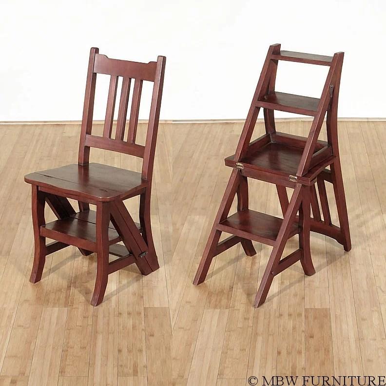 library chair ladder desk australia solid mahogany convertible step stool walmart com