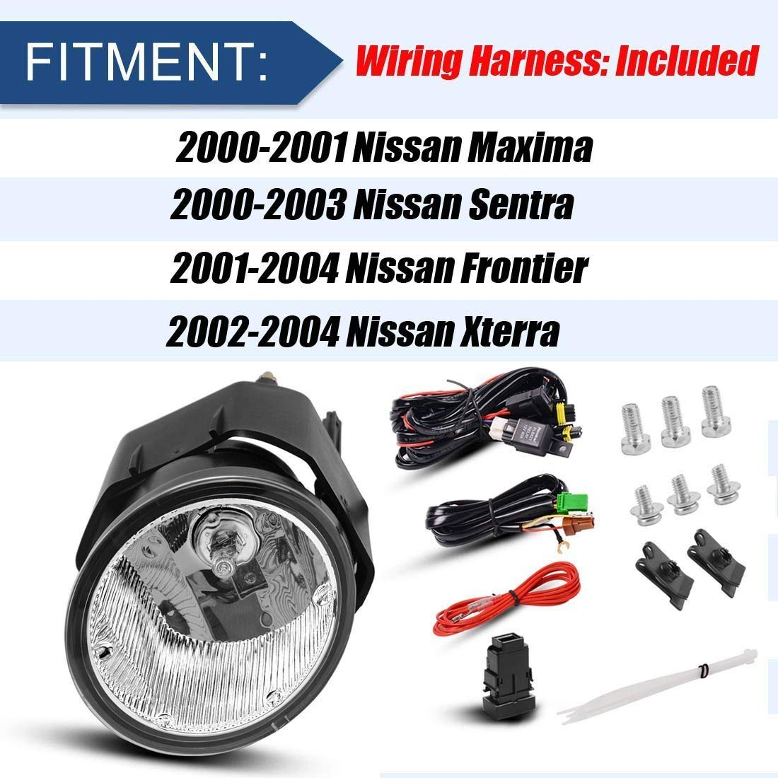 hight resolution of fog lights h3 12v 55w halogen lamp for nissan sentra 2000 2003 frontier 2001 2004 xterra 2002 2004 maxima 2000 2001 clear lens w bulbs wiring harness