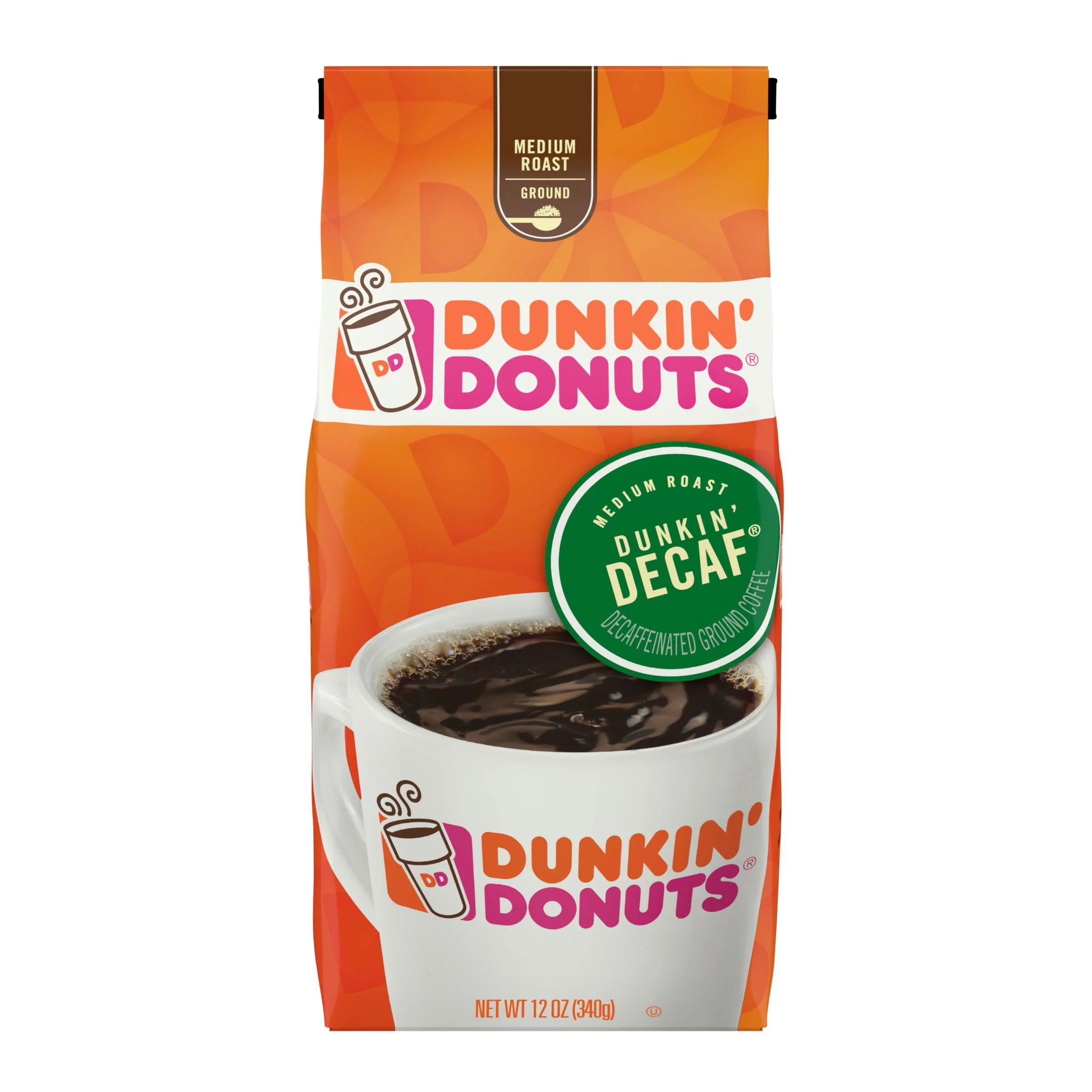 Dunkin' Donuts Decaf Medium Roast Ground Coffee 12 oz ...