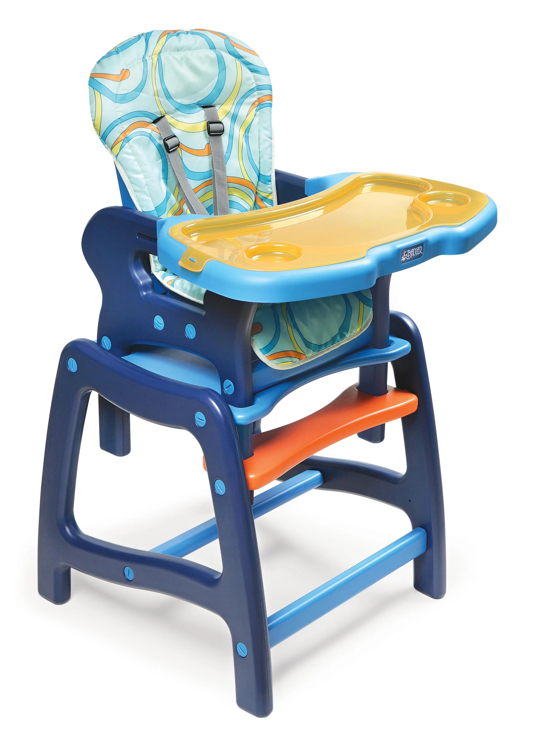 badger basket high chair navy blue dining envee baby with playtable conversion orange