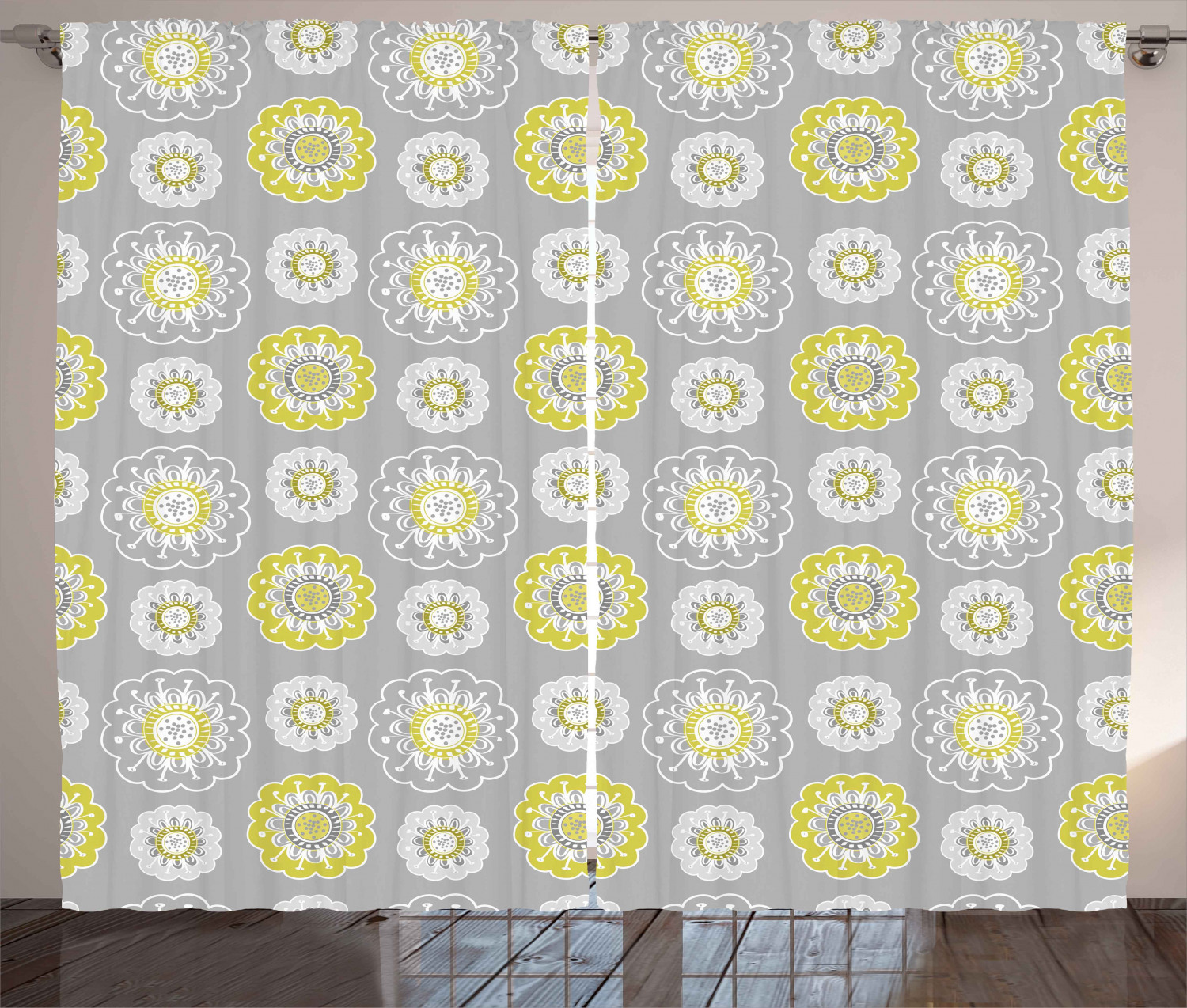 grey and yellow curtains 2 panels set pale grey backdrop with ethnic inspired flowers ivy image window drapes for living room bedroom 108w x 63l