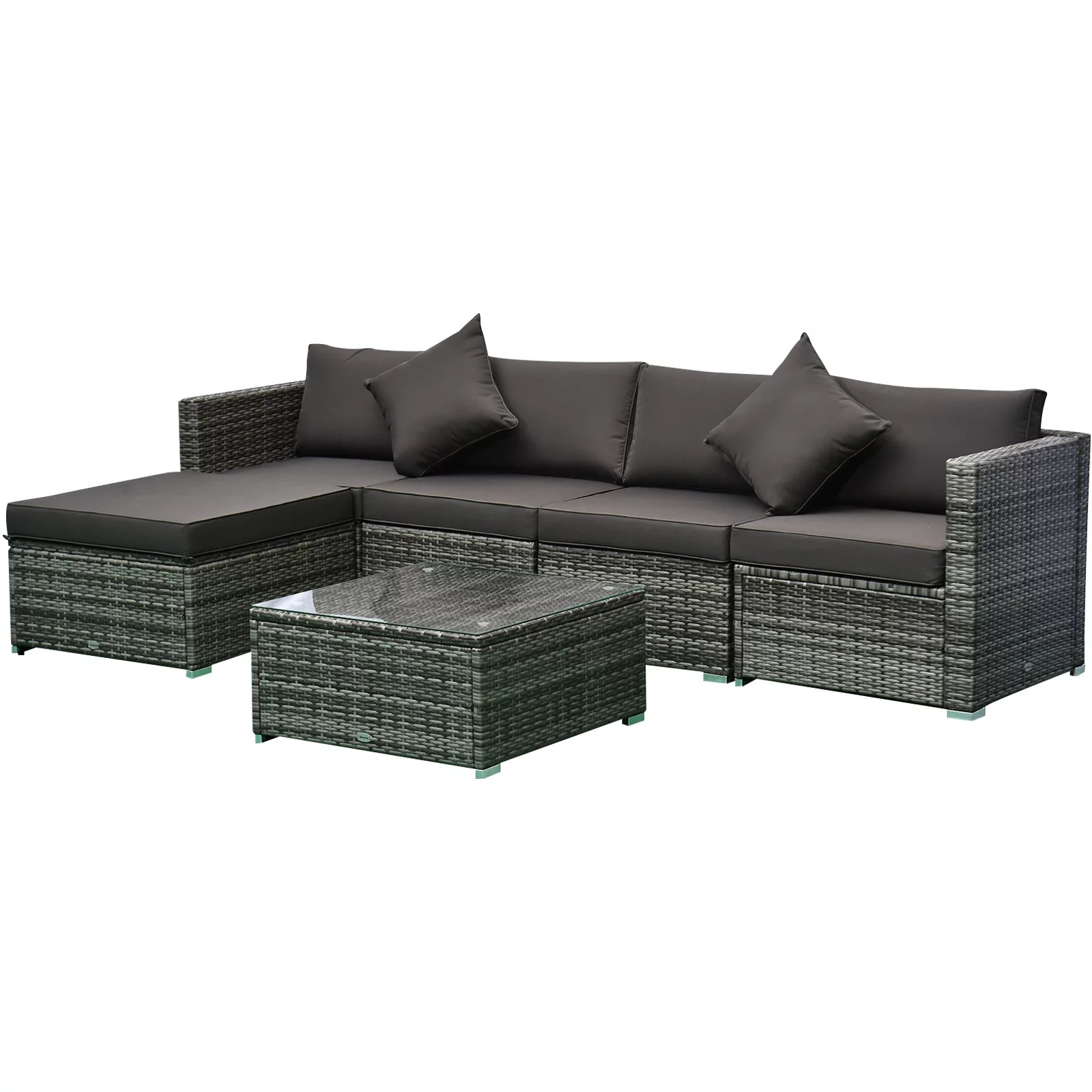 outsunny 6 piece outdoor patio rattan wicker furniture sofa set w cushions charcoal up to 395lbs