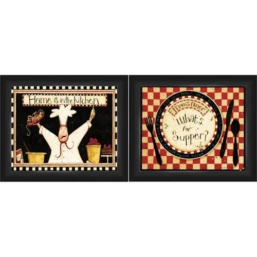"""Framed Graphic """"Home Kitchen"""" Wall Art, Black Frame, Set"""