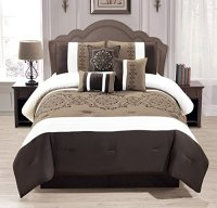 WPM 7 Pieces Complete Bedding Ensemble Brown taupe ...