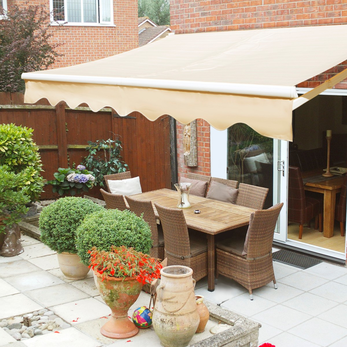 xtremepowerus manual retractable patio awning tan multiple sizes
