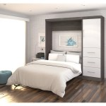 Nebula By Bestar 84 Full Wall Bed Kit With Storage And A Door And 3 Drawer Set In Bark Gray White Walmart Com Walmart Com