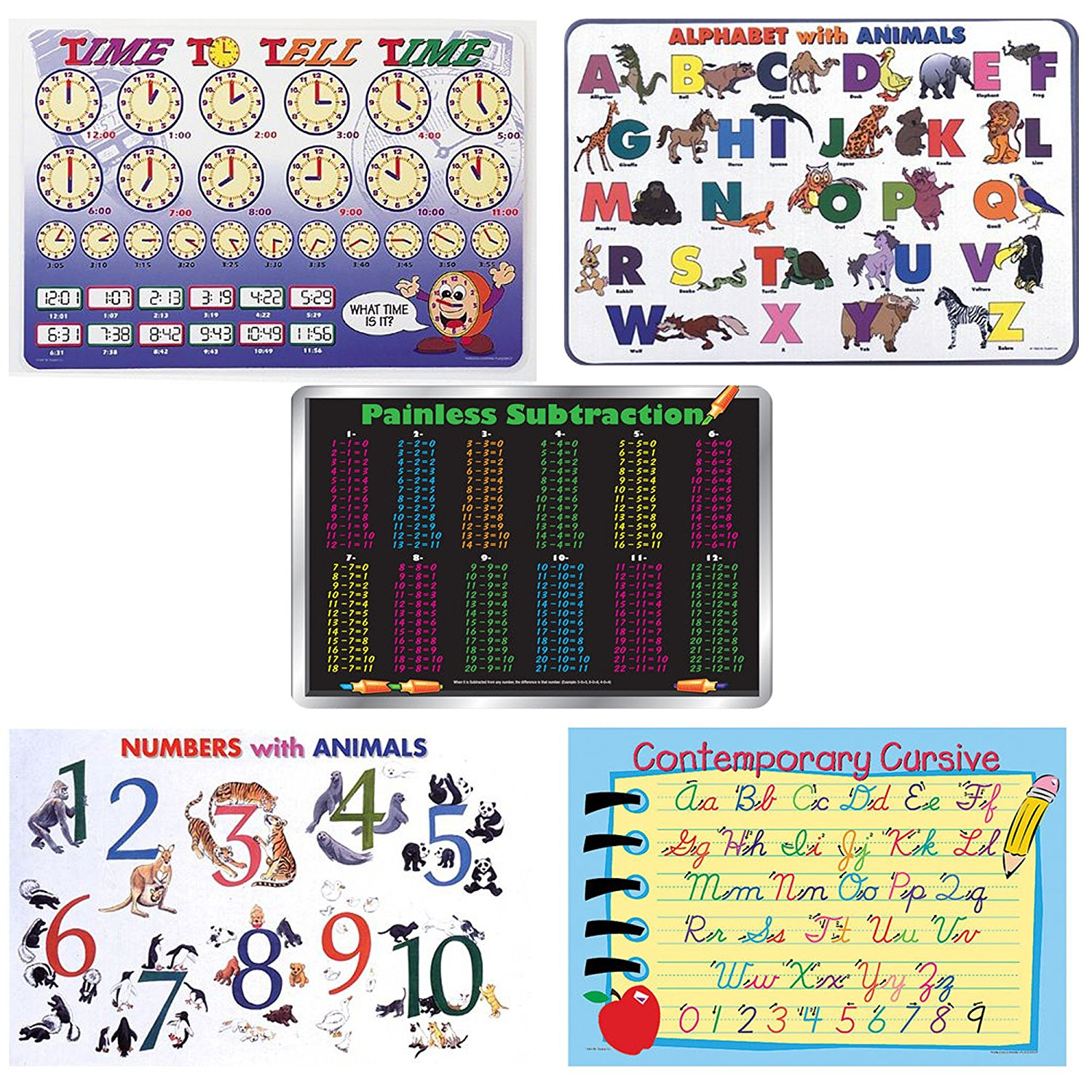 Painless Learning Bundle Of 5 Laminated Plastic Placemats