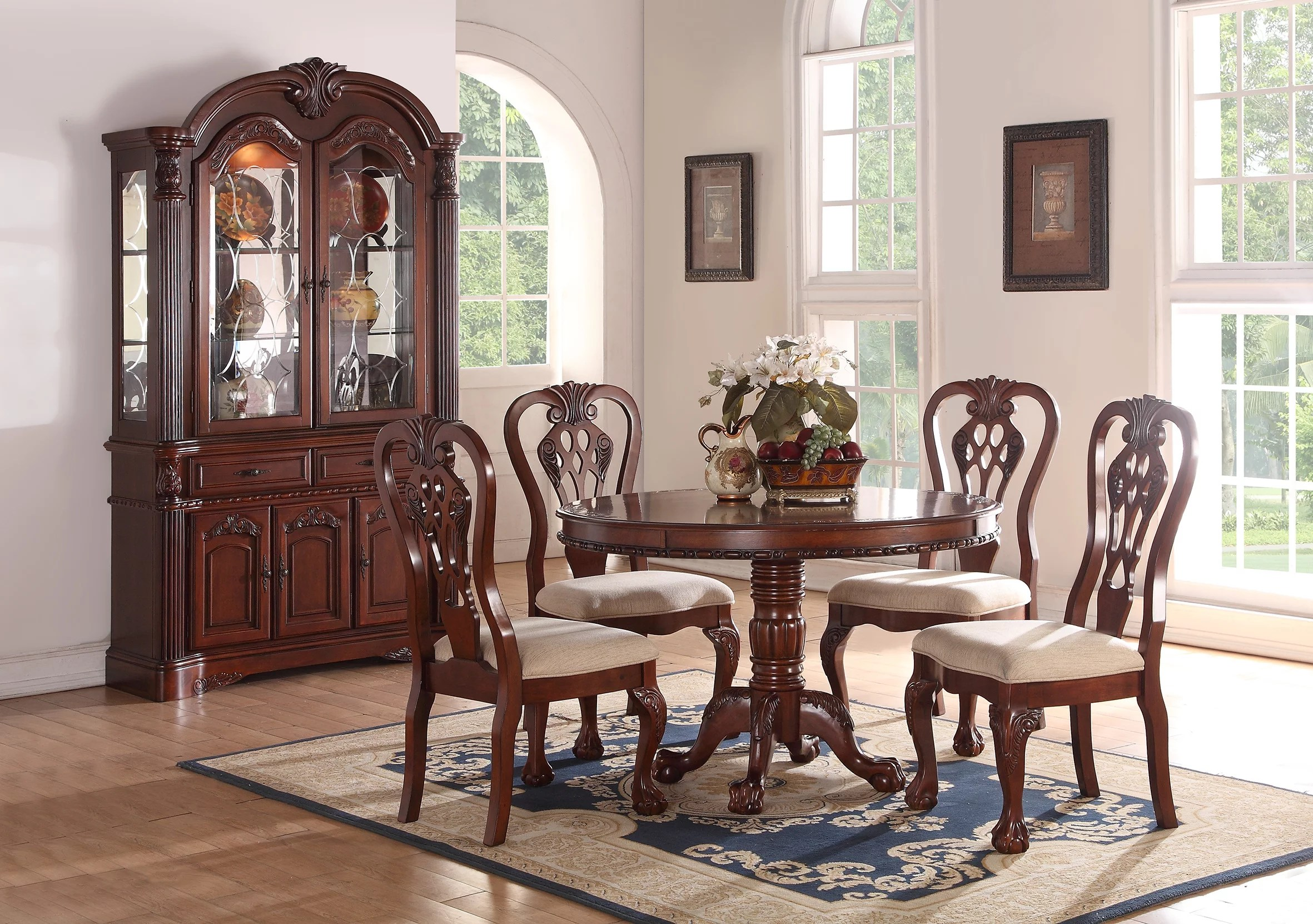 round living room set best ceiling lights for in india formal traditional dining 5pc cherry wood finish table accent floral pattern chairs crream cushion 4 side walmart com