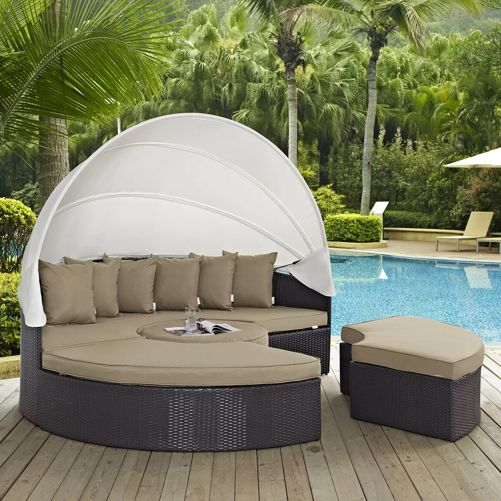 Modway Convene 5 Piece Canopy Outdoor Patio Daybed