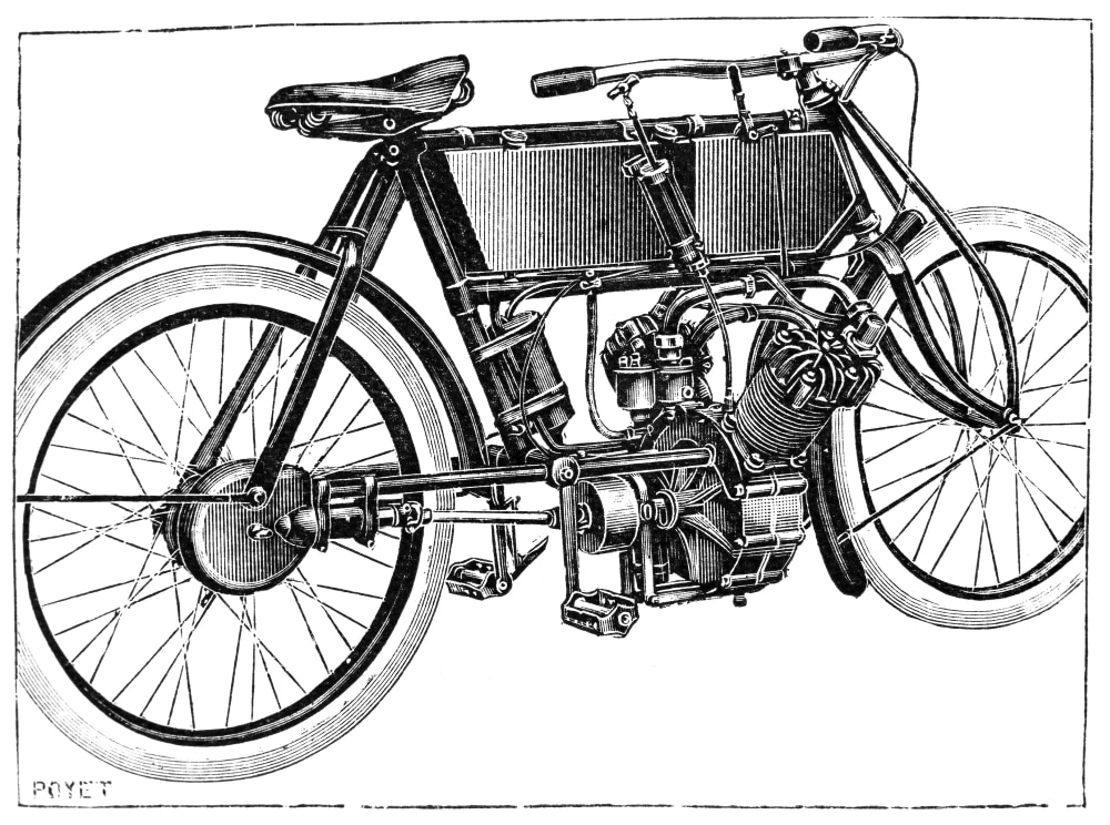 Motorcycle, 1904. /Nline Engraving, French, 1904. Poster