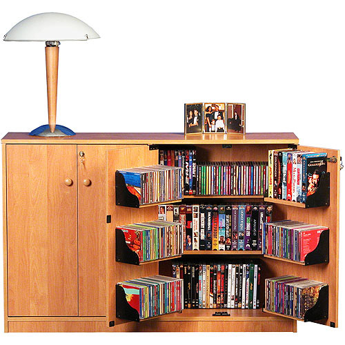 Oak TV Stand with Double Locking Cabinet for TVs up to 42