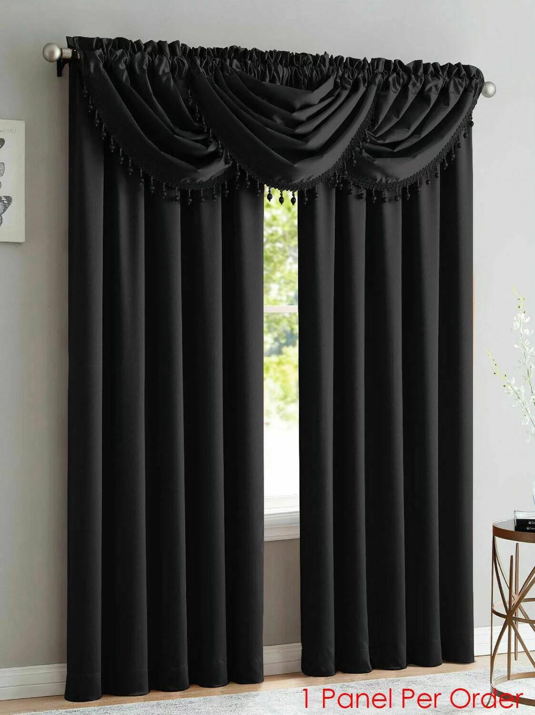 one bridget crushed satin curtain panel 54 wide x 84 long black