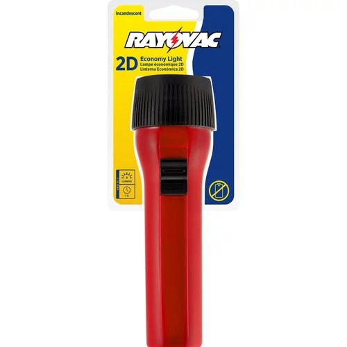 The Rayovac Value Bright 2D Flashlight offers a durable, compact and powerfully performing lighting option suitable for both outdoor and emergency use. This flashlight comes equipped with a nine-lumen pre-focused bulb that offers a 19' beam distance, ensuring an ample degree of light in most situations. Additionally, this heavy-duty flashlight provides a total of seven hours of run time on heavy duty batteries, and it offers both an easy-to-use push-button switch and a no-roll design for added convenience.