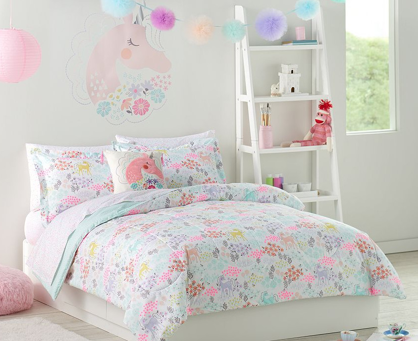 Pastel Unicorns & Flowers Girls Twin Comforter Set (5